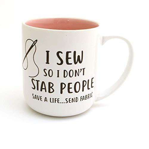 I Sew So I Don't stab People, Funny Sewing Mug LennyMud by Lorrie Veasey