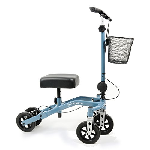 Swivelmate Knee Walker by TKWC INC, Steerable 90 Degree Turning Radius, Premium Quality, Extra Thick Knee Pad, 5-Wheel Stable Design - Knee Scooter Crutch Alternative