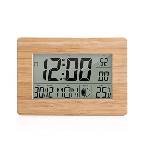 Digital Wecker Kecheer Funkuhr Atomuhr LCD Digitaler Kalender Wecker Tagesuhr Doppelte Weckerfarbe mit Schlummer Big Size Number Multifunktionstemperatur Tischuhren mit Thermometer