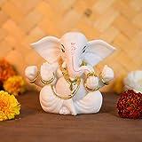 CraftVatika Lord Ganesha Statue Car Dashboard Ganpati Idol - Marble Stone Gold Work Finish (Size: 3.5 x 3 inches)