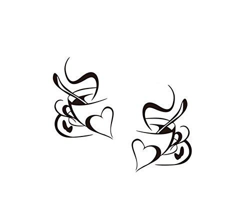 Hacoly Kaffee Tasse Wandaufkleber Kaffetasse Kindergarten Wandsticker Küche Glasfenster selbstklebend Aufkleber Wandtattoo Esszimmer Wanddeko Ideal für die Dekoration Ihres Hauses 28.5 * 40cm