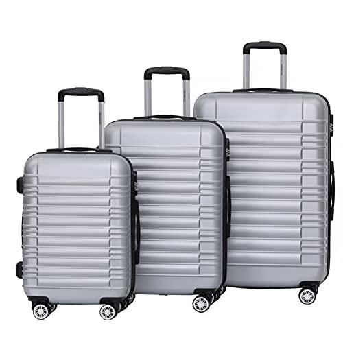BEIBYE 2088 Zwillingsrollen Reisekoffer Koffer Trolleys Hartschale M-L-XL-Set in 13 Farben (Silber, Set)