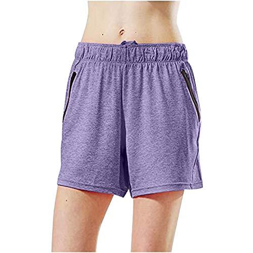 Routinfly Pantalones cortos de yoga para mujer, 1 unidad, de moda, deportivos, de yoga, sólidos, de algodón, de cintura alta, deportivos, para correr, (lila, XS)
