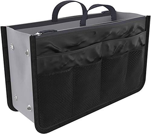 Ducomi Handtaschen-Organiser Damen 13 Tasche mit Großem Innenraum - Taschenorganizer mit Reisetaschen - Erweiterbare Passform Große Innentasche, Doppelgriff (Standard, Black)