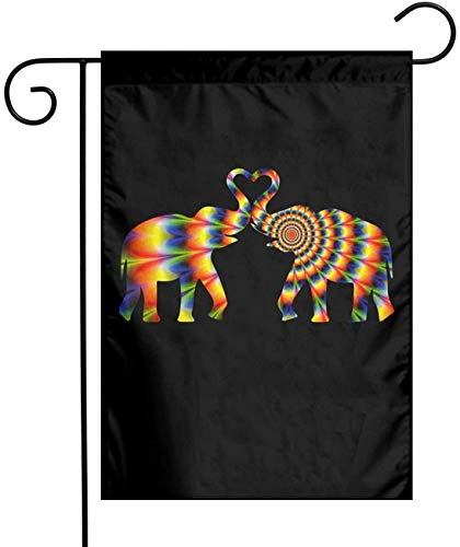 WANGQIN Tie Dye Style Heart Elephant Silhouette-4 Painting Art Garden Flag 12'x 18' House Banners for Patio Lawn Outdoor Decoration