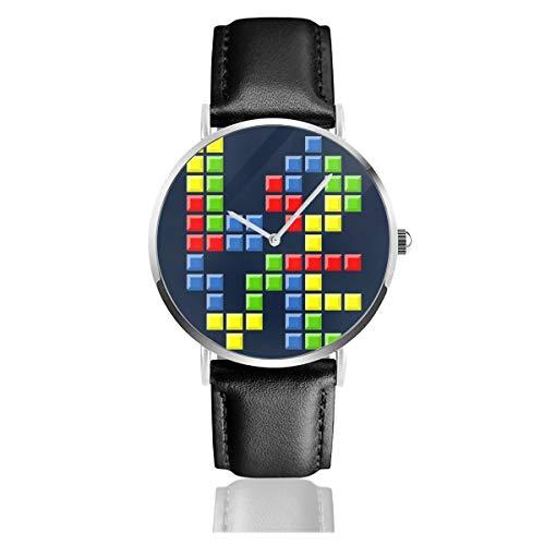 Unisex Business Casual Love Puzzles Tetris Uhren Quarz Leder Armbanduhr mit schwarzem Lederband für Männer Frauen Junge Kollektion Geschenk