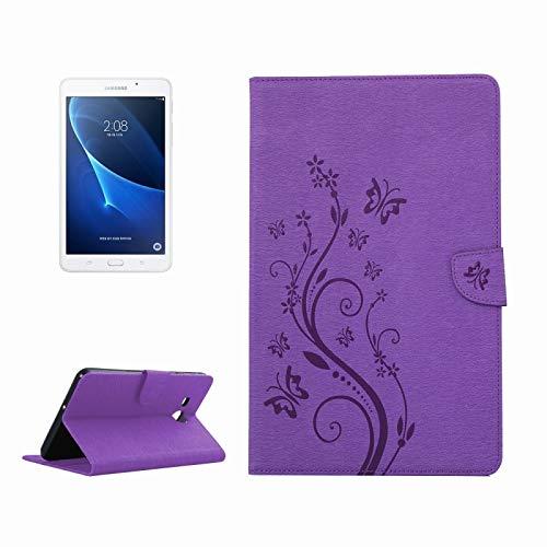 Dmtrab para Para Samsung Galaxy Tab A 7,0 cartera, patrón de mariposa de flores prensado, funda de cuero Horizontal Flip PU con hebilla magnética y soporte y ranuras para tarjetas (marrón) Casos de la