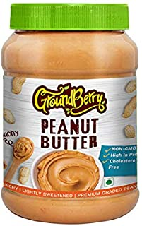 Groundberry Classic American Crunchy Peanut Butter Non-GMO, Gluten Free, Vegan 1 kg Pack (GB11)