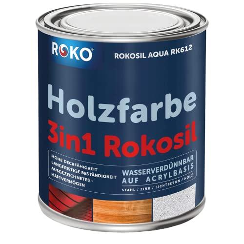 Holzfarbe ROKO - Schwedenrot - 0,7 Kg - 3in1 Premium Holzlack - Für Innen und Außen