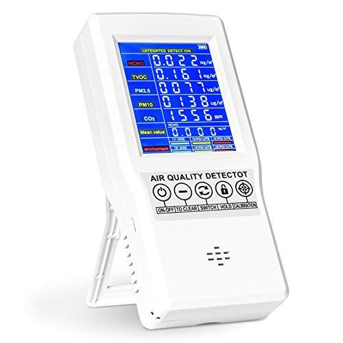 Bespick Monitor de Calidad del Aire, Detector Inteligente de Medidores de Calidad del Aire Interior para Pruebas de CO2 Formaldehído HCHO TVOC PM2.5 PM10 Con batería recargable de 3000 mAh