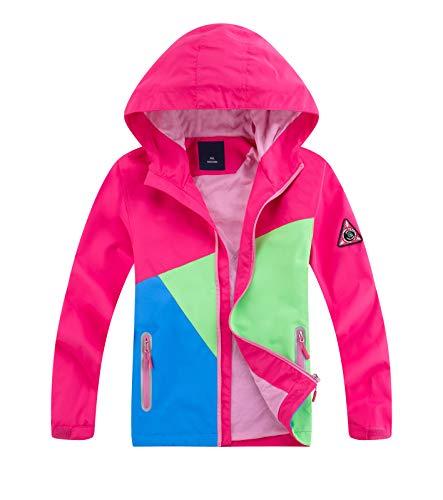 YoungSoul Kinder Regenjacke mit Farbblock Mädchen Jungen Übergangsjacke Outdoorjacke Win und Wasserdicht Windjacke mit Kapuze Rose DE: 128-134 (Herstellergröße 130)
