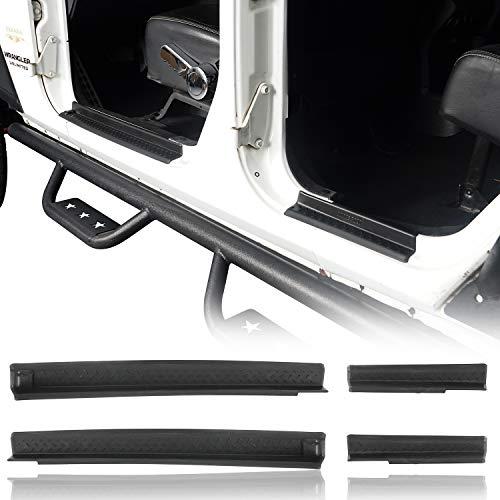 Hooke Road Wrangler JK Door Sill Entry Guard Black Thresholds Kit Compatible with Jeep JK Wrangler Unlimited 4-Door 07-18
