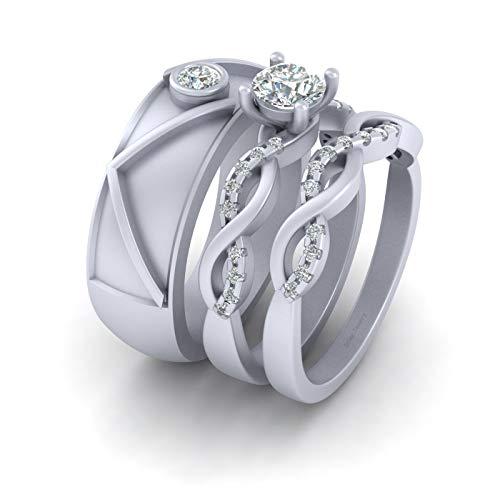 Anillo de boda de 0,80 quilates con diamantes entrelazados a juego para él y ella de plata de ley 925 maciza