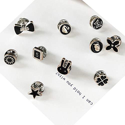 Lot de 10 broches pour pull, châle, col anti-lumière, boucle fixe pour vêtements, mini élégant cardigan décoratif invisible (Trèfle cygne noir)
