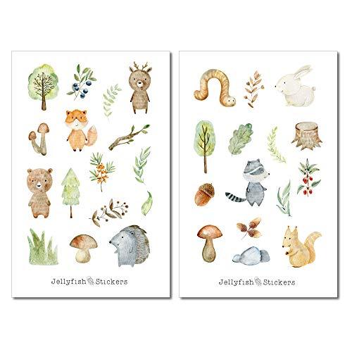 Baby Waldtiere Sticker Set | Niedliche Aufkleber | Journal Sticker | Planersticker | Sticker Fuchs, Eichhörnchen | Sticker Tiere