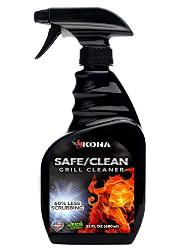 Kona Safe/Clean BBQ Grill Cleaner Spray - Heavy Duty, No-Drip Formula, 60% Less Scrubbing - Eco-Friendly Food Safe Grill & Oven Degreaser, Biodegradable - 23oz