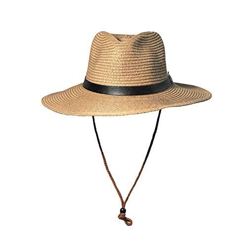 XUEGM-hat Herren Sonnenhut Cowboy Strohhut Faltbare breite große Krempe mit Lederband Formbare Krempe - Cowboy Western Style Hut Chin Cord,Khaki