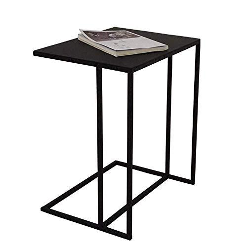 Home & Selected kunstsofa tafelblad computertafel C-metaal snacks zijtafel consoletafel beste decoratieve tafel voor uw huis voor het bewaren van voorwerpen, zwart, wit (kleur: