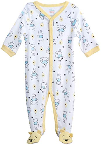 Disney Baby Boys' Sleep N' Play Footed Coveralls - Mickey & Friends, Lion King, Pooh Bear (Newborn/Infant), Size 6-9 Months, Pooh Bear White