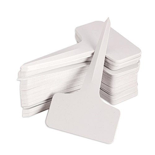 KINGLAKE 100 Pcs 6 x10cm Plastic Plant T-Type Tags Nursery Garden Labels