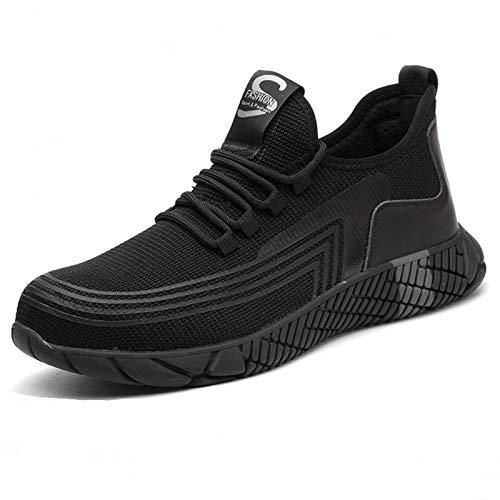 N-B Zapatos de seguridad laboral para hombre, antigolpes y antiperforación, puntera de acero, suela suave, zapatos de seguridad resistentes al desgaste y transpirables