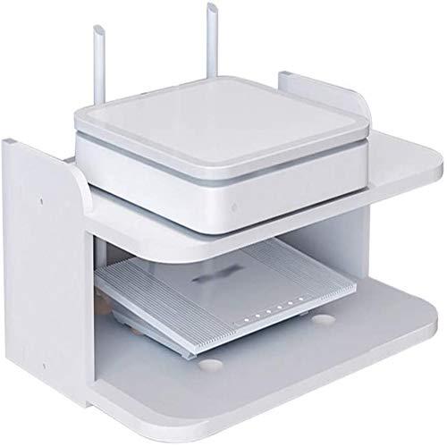 KONFA Router Plataforma Flotante para La TV Componentes Caja De TV Set Top Box Titular De Soportar 2 Capas del Estante De Almacenaje del Estante De Yangzi,Blanco