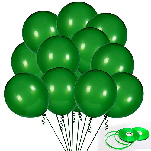 100Pack Green Balloons, 12Inch Green Latex Balloons Premium Helium Quality Dark Green Balloons Light Greeen Balloons for Party Supplies and Decorations(with Green Ribbon) …