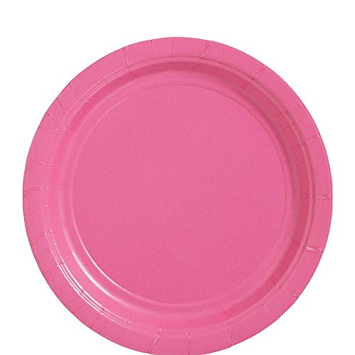 amscan Bright Pink Dinner Paper Plate Big Party Pack, 50 Ct., 9' x 9'