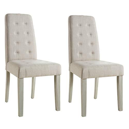 Abitti Pack 2 sillas para Comedor o salón tapizadas en Tela Arena y Estructura en Madera Maciza de Pino 45x95cm