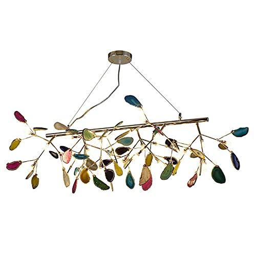 Water cup - Lámpara de araña creativa de ágata de luciolas, luces de arte de restaurante moderna, decoración creativa ágata iluminación/galvanoplastia dorada 24 luces
