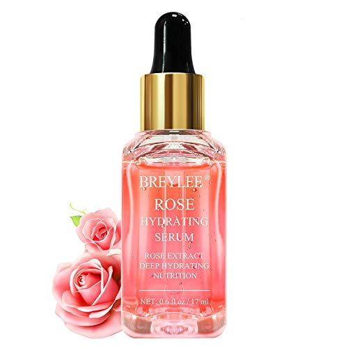Rose Face Serum, BREYLEE Moisturizing Serum Hydrating Face Serum Rose Essence with Rose Petals Extract Hyaluronic Acid Trehalose B5 Vitamin Alcohol Free Facial Skin Care(17ml)