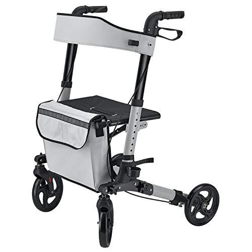 Juskys Aluminium Rollator Vital klappbar & leicht | 6-fach höhenverstellbar | Leichtgewicht Gehwagen mit Sitz, Bremse und Tasche | 130 kg | grau