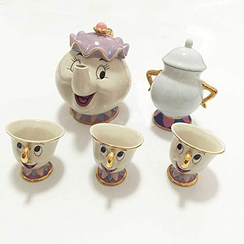 zhang123 Dibujos Animados La Bella Y La Bestia Taza De Tetera Potts Chips Cup Sugar Jar Clock Lady Cute