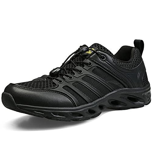 Zapatillas de Senderismo Masculino Exterior Secado rápido Agua y Tierra Anfibio Pescar Verano Antideslizante luz Buceo Vadear Zapato (41,Negro)