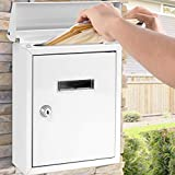 Wall Mount Lockable Mailbox - Modern Outdoor Galvanized Metal Key Large Capacity - Commercial Rural Home Decorative & Office Business Parcel Box Packages Drop Slot Secure Lock - Serenelife SLMAB01