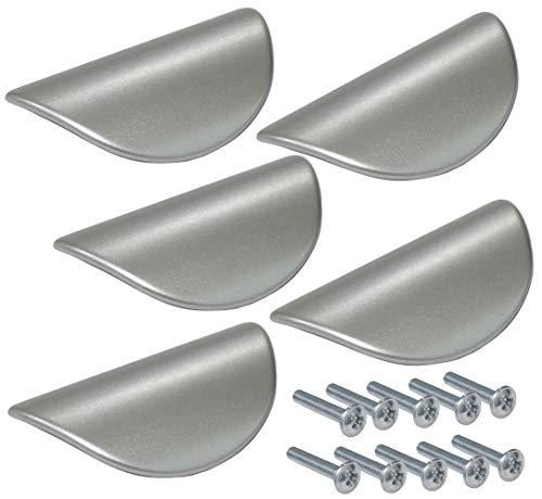 AERZETIX: 5x Tirador para cajón alacena puerta mueble armario Adour plata mate 32mm C41370