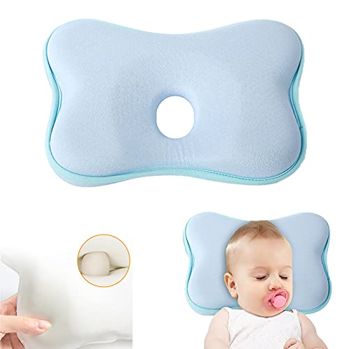 Babykopfkissen,Babykissen Gegen,Kleines Babykopfkissen,Plattkopf Babykissen,Baby Memory Schaum Kissen (Blau)