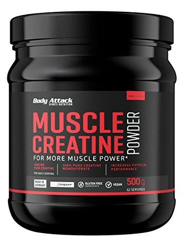 Body Attack Muscle Creatine (Creapure), Kreatin-Monohydrat, vegan (1 x 500g Pulver)