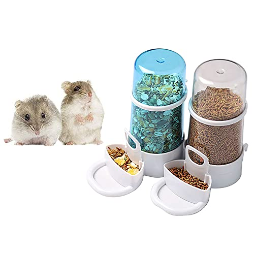 2Pcs Hamster Automatic Feeder, Self-Dispensing Small Pet Food Feeder Hamster Water Bottle, Silent Drinking Bowl for Rabbit Hedgehog Small Pet Birds 2.86.3in