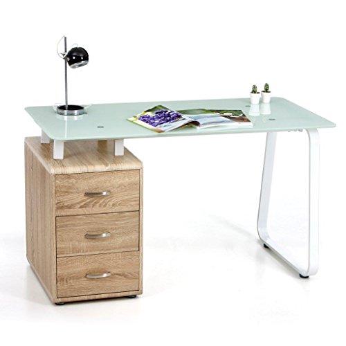 Escritorio Connect con estructura y cristal templado de color blanco y cajonera de madera color roble claro, 130x 65x 75 (altura)cm