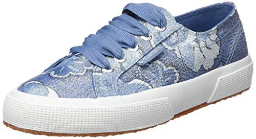 SUPERGA 2750-FABRICLAMEFLOWERW, Sneaker Donna, Blu (Blue/White A25), 35 EU