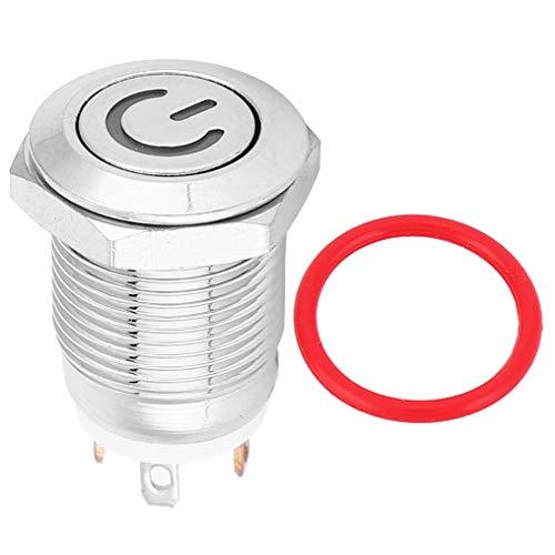 YUN interruptor de botón del metal de 12m m con el poder Icon blanco LED de la luz del auto reset 1 NO interruptor 5V