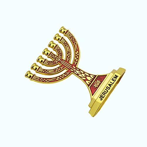 Decorazione Ebrea del Candeliere A 7 Rami, Candeliere in Metallo Decorazione Dell'home Office Decorazione della Scultura Dell'auto Regalo di Hanukkah 6CM,Rosso