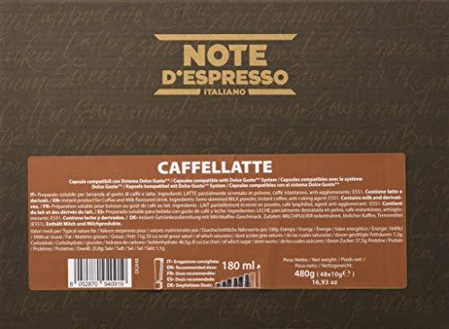 Note D\'Espresso - Cápsulas de Caffelatte Instantáneo compatibles con cafeteras Dolce Gusto - 48 Unidades de 10g, Total: 480 g