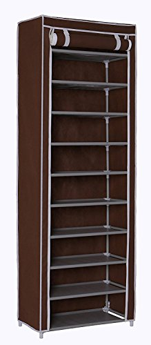 Homebi 10-Tier Shoe Rack 30 Pairs Shoe Tower Closet Shoes Storage Cabinet Portable Boot Organizer with Dustproof Non-Woven Fabric Cover and 10 Durable Shelves (Brown)