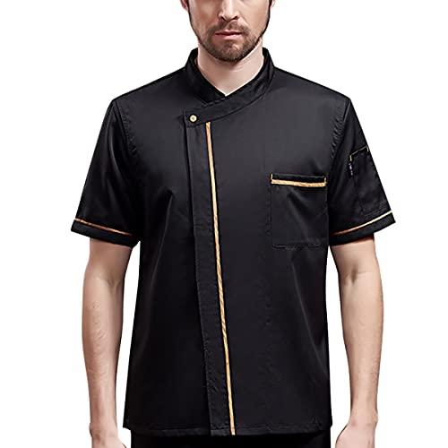 Unisex Chef Jacket - Shoulder Cool Vent Chef Coat Gold Edge Working Chef Uniform, Black