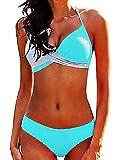 Inception Pro Infinite Costume Bagno Mare Femmina - Donna Due Pezzi - Femminile - Ragazza - Coordinato - Bikini - Imbottito - Due Colori - Misura XXL - Verde Acqua Grigio - Idea Regalo Originale