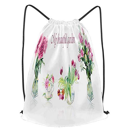 Sac à Dos à Cordon Sport Yoga Impermeable fleurs roses vases en verre transparent aquarelle Sac de Gym pour Plage Camping Voyage