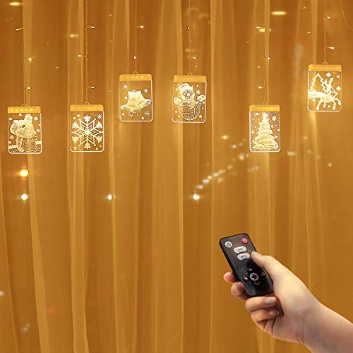 Curtain Lights LED String Lights, Dimmable Creative 3D Hanging Lights with Timer/5 Modes/USB Plug,Warm White Remote Control Twinkle Lights for Window/Fireplace/Wall/Patio/RV Camping/Bedroom Decor