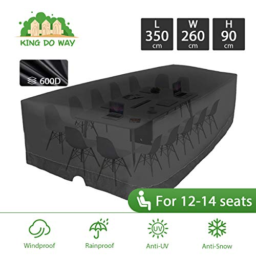 king do way Outdoor Patio Furniture Covers 350 X 260 X 90cm 600D Large Patio Furniture Covers Oxford Polyester Extra Large Size Furniture Set Covers Fits 12-14Seat Black 137.8'' X102.4'' X 35.4''